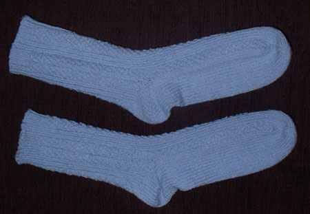 Finished Diagonal Rib Socks