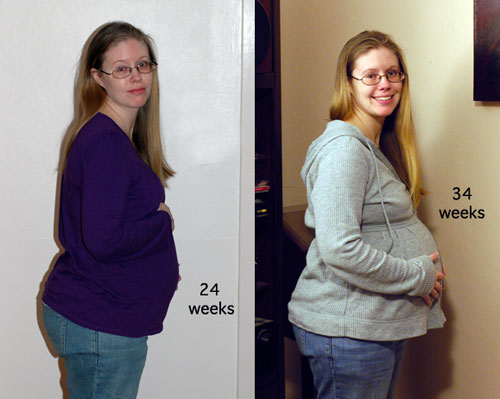 Julie at 24 and 34 weeks