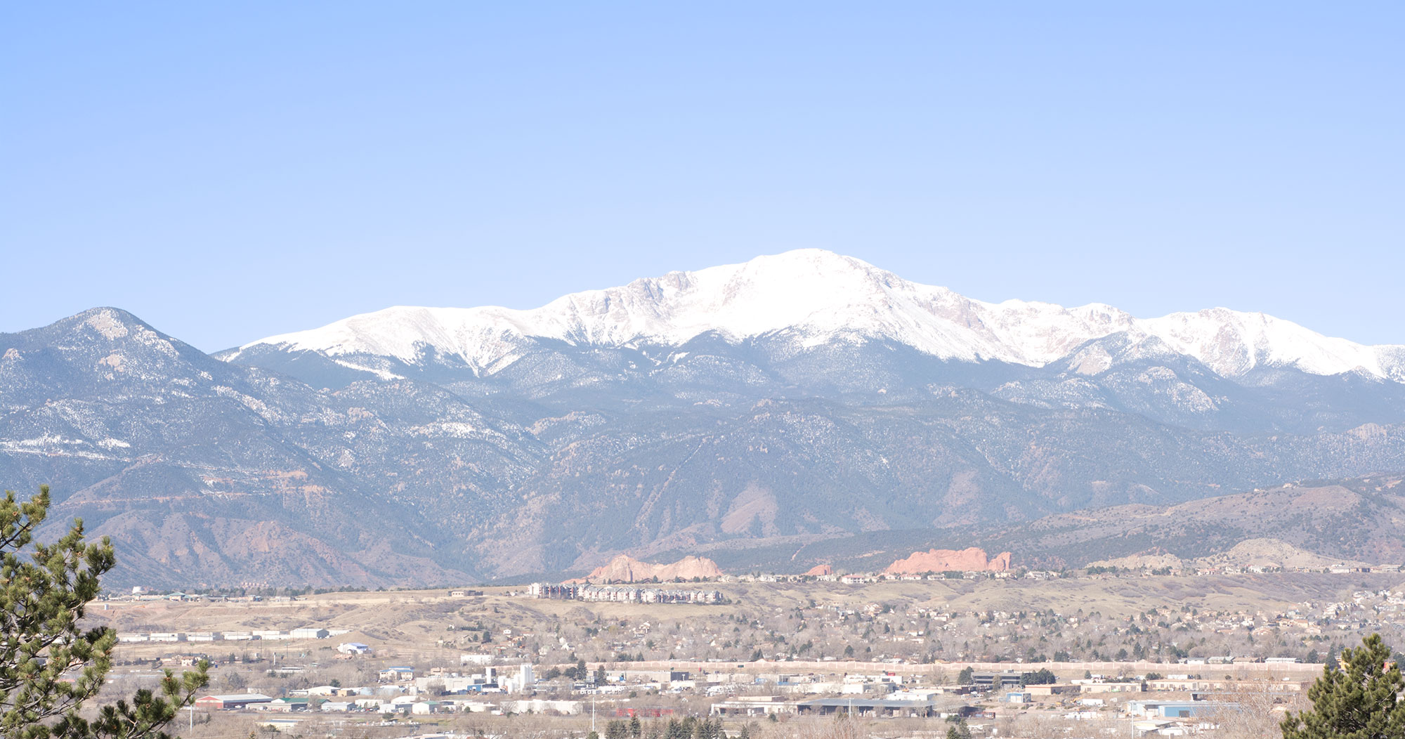 Pikes Peak with Garden of the Gods in front