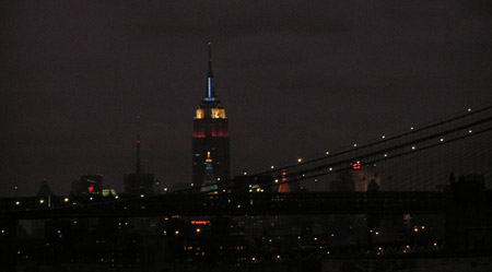 Empire State Building behind the Brooklyn Bridge