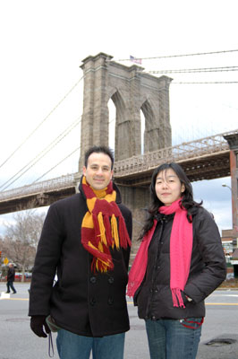 Paul and Jee at the foot of the Brookly Bridge