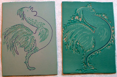 Lino plates for rooster print