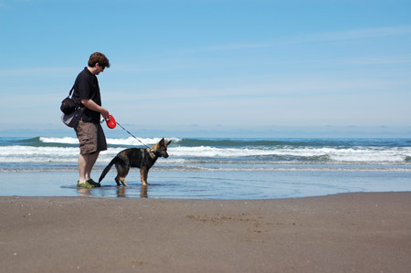 Jeremy and Freyja at the beach