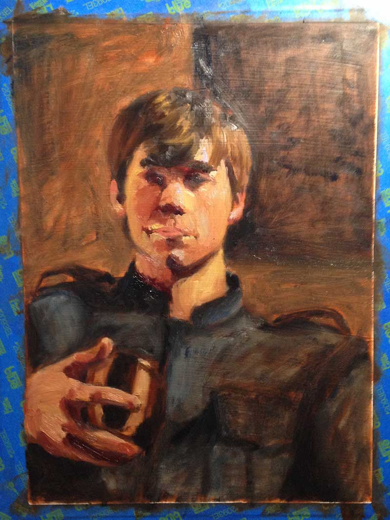 Chromatic underpainting study for portrait.
