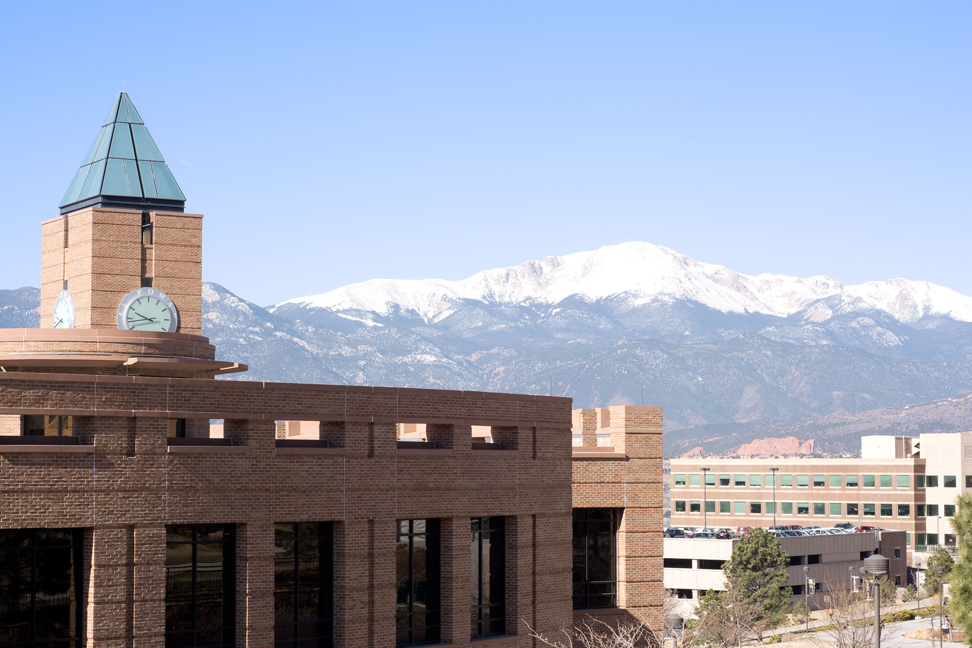 El Pomar Center at UCCS in front of Pikes Peak